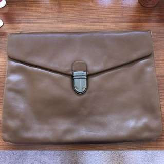 Oroton Genuine Leather Tan/Brown Document Holder / Laptop Sleeve