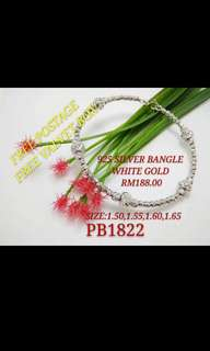 925 Silver Bangle White Gold