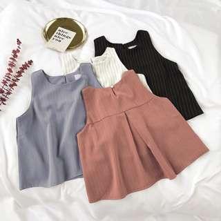 #497 Stripe Basic Sleeveless Blouse (PO)