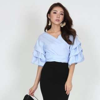 MDS Ruffled Sleeved Top