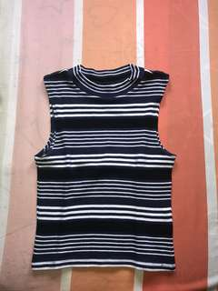 Striped Turtle Neck Tank