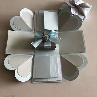 Diy explosion box with gift box and 8 waterfall in grey & blue