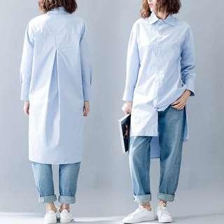 (M - 5XL) Ladies Plus Size Retro casual long shirt