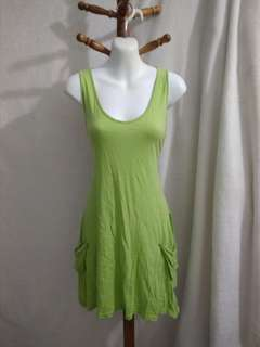 Retro green cotton dress