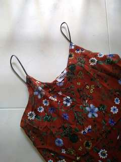 red floral v-neck camisole