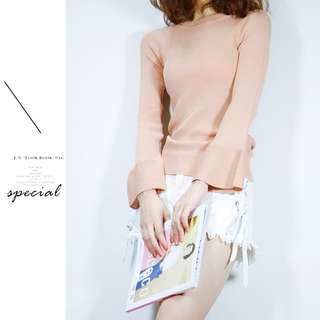 [4 Colors] Knitted Top Long Sleeved Blouse
