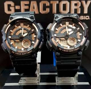 COUPLE PAIR SET NEW🌟ARRIVAL CASIO : 1-YEAR OFFICIAL WARRANTY: 100% Original Casio 100M DIVER WATCH with WorldTime In DEEP BLACK STEALTH MATT added with ROSE-GOLD Colour ABSOLUTELY TOUGHNESS Best Surprise Gift For Rough Users & Unisex: AEQ-110W-1A3VDF