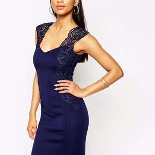 Lipsy London Lace Bodycon Navy | Size AU10 perfect formal cocktail dress