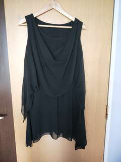 Short sleeve Black Chiffon Dress