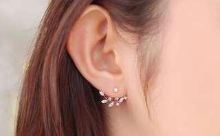 Hanging branches rhinestone earrings