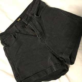lee black denim shorts