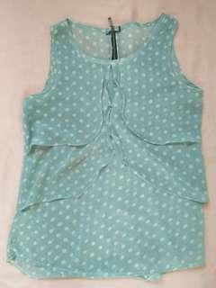 Blue sleeveless polkadot blouse
