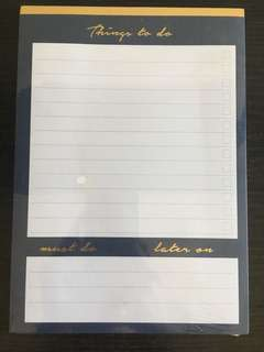 "Typo Navy and Gold ""Things to Do"" Notepad"