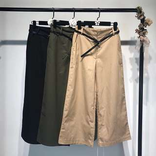 European women's high waist with a solid color loose casual wide leg pants pants