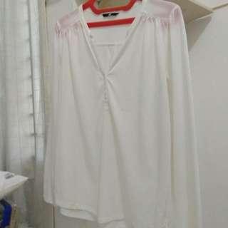 H&M Basic White Jersey Blouse
