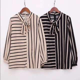 (XL - 3XL) Korean version of the horizontal stripe bow tie long-sleeved shirt