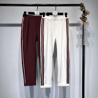 (XS~L) Side stripes female European and American style loose summer new high waist casual pants