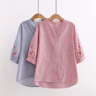 (XL - 4XL) ladies Plus Size embroidery striped five-point sleeve shirt