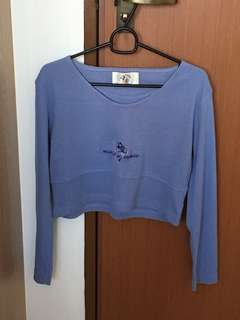 Long Sleeve Blue Minnie Mouse Crop Top