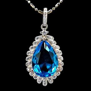 PENDANT BLUE PLATED WHITE GOLD + NECKLACE