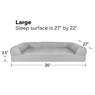 """FurHaven Orthopedic Memory Foam Dog Bed Pet Couch Sofa Bed for Dogs and Cats, Large 36"""" x 27"""" x 3.5"""" (sleep surface - 27"""" x 22""""), Silver Gray"""
