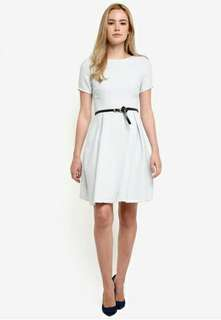 Zalora collection textured fit and flare dress with belt