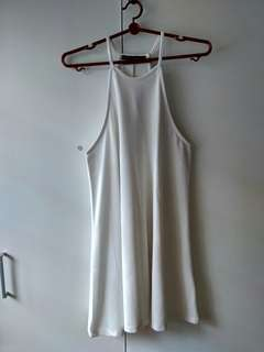 Halter neck sleveless white dress