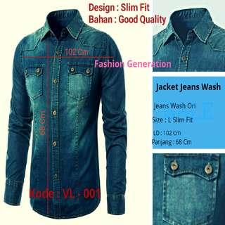 Jaket Jeans Wash/Washed l Pria Cowok l Jaket Motor Biker Touring l Model Slim Fit l Gaul Kekinian l Ukuran L