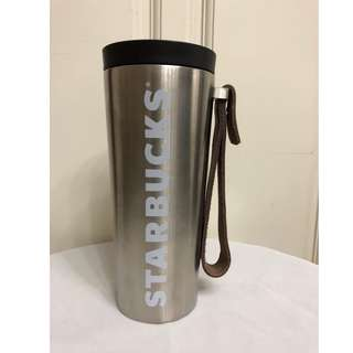 Starbucks Stainless Steel Tumbler W/ Leather Handle 16oz