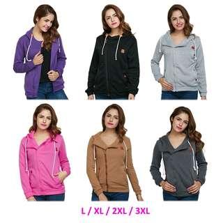 💯 Hooded Long Sleeve Drawstring Zipper Coat for Ladies