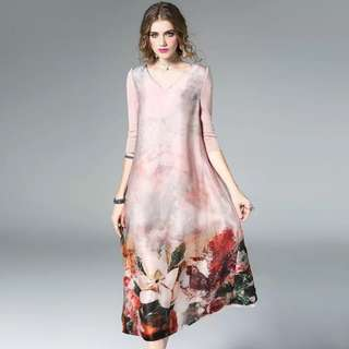 luxe silk floral ombré tunic loose dress with knitted silk sleeve