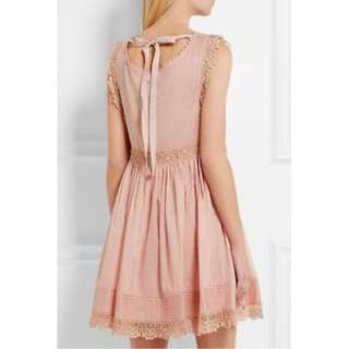 REDValentino Crochet Trimmed Cotton Voile Lace Skater Dress Spring Rose Designer