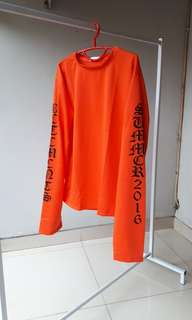 Vetements orange top hypebeast atasan lengan panjang