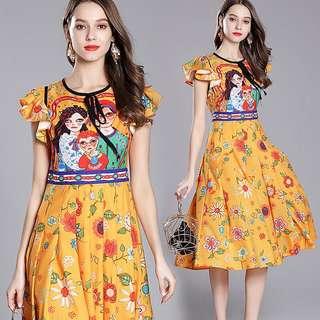 (M~2XL) European fashion pleated skirt dress