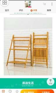 ( instock )🌷Foldable Flower Rack/Planting Rack/plant stand 🌷( Original Colour natural bamboo )( White or Blue white )