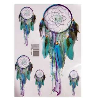 Temporary Tattoo (Green Feather Dream Catcher - A5)