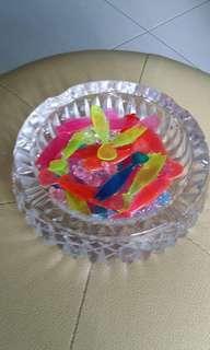 Glass ash tray as bowl