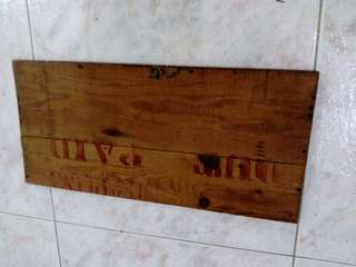 "Preloved wooden crate piece with words-""Duty Paid"""