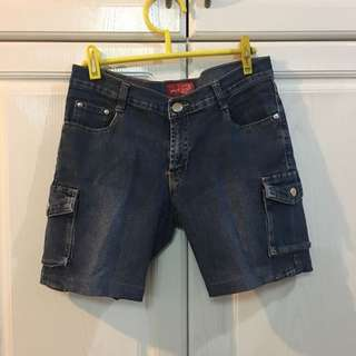 Long Denim Shorts with Side Pockets