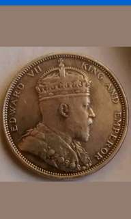 Strait settlement King Edward vii one dollar silver coin 1904