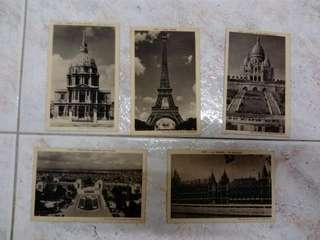 Set of 5 vintage postcards featuring Paris scenary