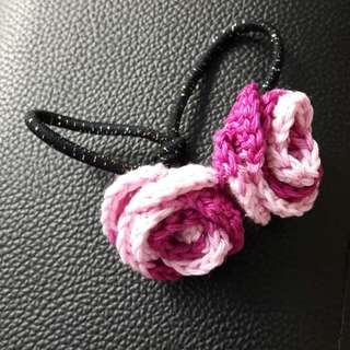 Customised crochet rose flower hair tie