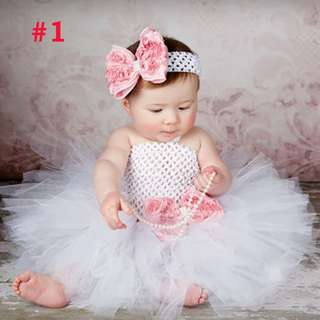 Pink White Crochet Tutu Dress