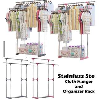 [FREE POSTAGE] Double Pole Adjustable Stainless Steel Cloth Hanger and Organizer Rack #july50
