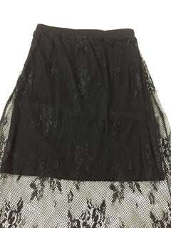 [BN]Supre Lace Maxi Long Skirt ( black)
