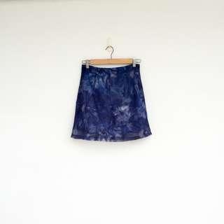 二手 藍色 印花 短裙 明太子 0429