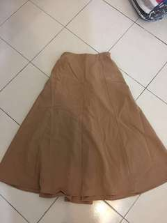 Brown long flare skirt