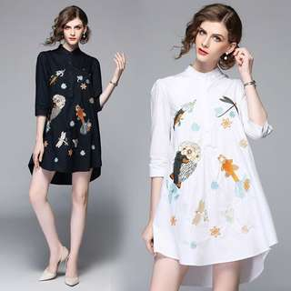 (S~2XL) 2018 Spring Beaded Embroidered Long Shirt Top