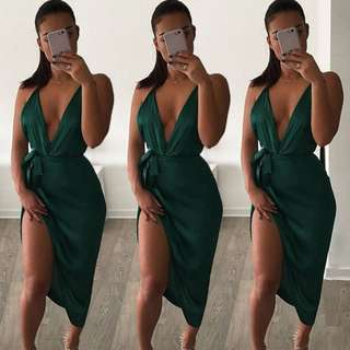 High Split Deep V Dress
