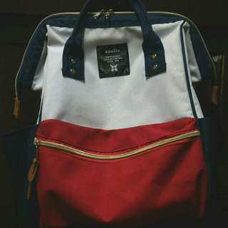 AUTHENTIC ANELLO BAG // BACKPACK (mixed red + blue + white) ✨